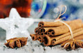 Cinnamon and stars of anise at christmas time Royalty Free Stock Photography