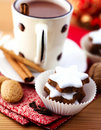 Cinnamon stars and hot chocolate Stock Image