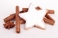 Cinnamon stick and gingerbread on white Royalty Free Stock Photo