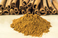 Cinnamon stick is a spice obtained from the inner bark of several trees from the genus cinnamomum Royalty Free Stock Images