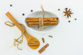 Cinnamon stick spices top view on white background. Royalty Free Stock Photo