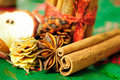 Cinnamon sticks, anise stars. christmas decoration Stock Image