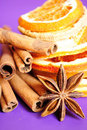 Cinnamon sticks, anise stars and dried oranges Royalty Free Stock Image