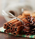 Cinnamon Sticks and Cone Royalty Free Stock Images