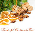 Cinnamon sticks with pine brunch. christmas deco Royalty Free Stock Images