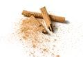 Cinnamon sticks and powder on white Royalty Free Stock Photo