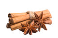 Cinnamon sticks and star anise on white background Royalty Free Stock Images