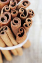 Cinnamon sticks stick or quills closeup overhead Stock Image