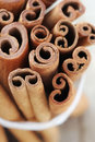 Cinnamon sticks stick or quills closeup overhead Stock Photo