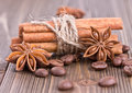 Cinnamon sticks tied with twine Royalty Free Stock Photos