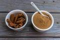 Cinnamon stiks and powder Royalty Free Stock Photo