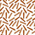 Cinnamon watercolor illustration isolated on white background, Hand drawn seamless pattern, Design food, Organic fresh spice ingre