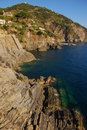 Cinque Terre层状岩石  免版税库存图片