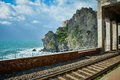 Cinque terre coastline seen from the train station ii shore of in italy holds magnificent views over blue mediterranean sea is Royalty Free Stock Image