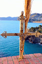 Cinque terre italy corniglia christian cross crafted in the lo liguria Stock Image