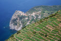 The cinque terre in italy vineyards and village of corniglia on Royalty Free Stock Photography