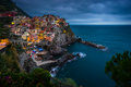 Cinque terre manarola shoot in the evening blue light Royalty Free Stock Photos
