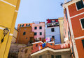 Cinque terre tipical colorful buildings in vernazza Royalty Free Stock Images