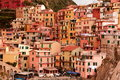 Cinque terre town of manarola the hillside shows off its self as to say come and visit me Royalty Free Stock Photo
