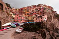 Cinque terre town of manarola the hillside sits perched high atop a hill along the coast Stock Images