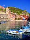 Cinque terre village harbor view of a italian coastal at the Stock Images