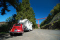 Cinquecento  in-tow behind camper Stock Photography