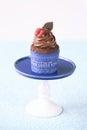 Cioccolato cherry cupcake Fotografia Stock Libera da Diritti