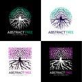 Circle abstract tree logo and Square abstract tree logo vector art design