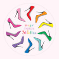 Circle arrangement of colorful sexy stilettos high heels set Royalty Free Stock Photo