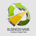 Circle arrow logo with triangle design Stock Image