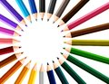 Circle border with color pencils around Royalty Free Stock Photo