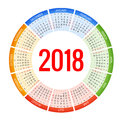 2018 circle calendar. Print Template. Week Starts Sunday. Portrait Orientation. Set of 12 Months. Planner for 2018 Year.