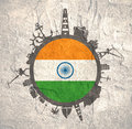 Circle with industry relative silhouettes. India flag