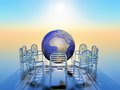 Circle a of chairs with a globe in the middle Royalty Free Stock Photography
