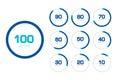 Circle chart, graph. Flat design. Percentage templates set. Royalty Free Stock Photo