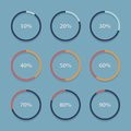 Circle chart, graph, infographic percentage templates collection. Royalty Free Stock Photo