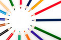 Circle from color pencils Royalty Free Stock Images