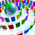 Circle of colorful books around a globe Stock Photo