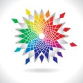 Circle colorful elements abstract vector color flower wheel on white background Stock Images