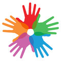 Circle of colorful hand print Royalty Free Stock Photography