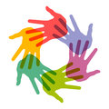 Circle of colorful hand prints Royalty Free Stock Photos