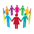 Circle of Colourful People Stock Photography