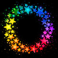 Circle composition with hand drawn watercolor colorful stars