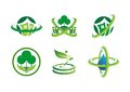 Circle connection home plant logo, house building, landscape, real estate, green nature symbol icon Royalty Free Stock Photo
