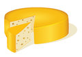 Of a circle cut off a piece of cheese on white Royalty Free Stock Photo