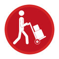 Circle emblem pictogram of man and hand truck and packages