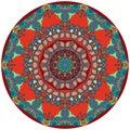 Circle ethnic rug with flower - mandala. Decorative uzbek plate Royalty Free Stock Photo