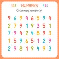 Circle every number Nine. Numbers for kids. Worksheet for kindergarten and preschool. Training to write and count numbers. Exercis