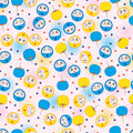 Circle face fun naughty play fan seamless pattern Royalty Free Stock Photo
