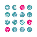 Circle finance icons Royalty Free Stock Photos